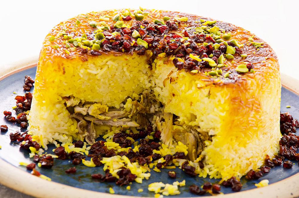 Tahchin (Layered Saffron Rice & Chicken)